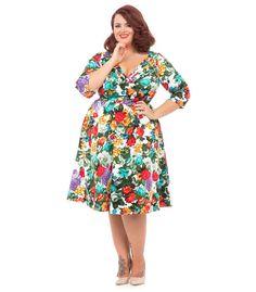 Voodoo Vixen Floral Swing Dress Plus Size - The Atomic Boutique  - 2