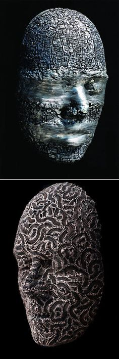 Figurative sculptures of artist Dale Dunning who welds together metal type and steel hardware to create intricate masks and heads.  Quelle: thisiscolossal.com  #dale dunning #art