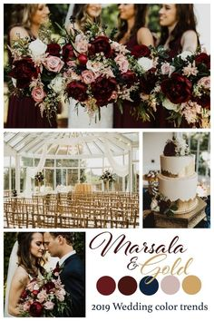 Top 9 Fall Wedding Color Schemes for and gold, wedding bouquets, wedding cakes, wedding ceremony decorations Marsala And Gold Wedding, Gold Wedding Colors, Winter Wedding Colors, Color Scheme Wedding, Wedding Color Schemes Fall Rustic, February Wedding Colors, Burgundy And Grey Wedding, Romantic Wedding Colors, Jewel Tone Wedding