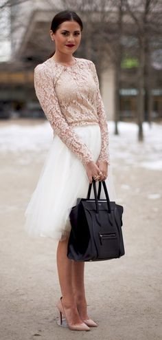 Celine handbag, Louboutin heels. lace top and tulle skirt [ VelvetEyewear.com ] #feminine #luxury #style