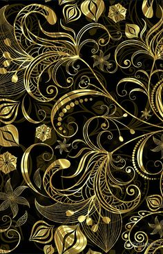 'Back and Gold Tones Vintage Floral Swirls' iPhone Case by artonwear Samsung Galaxy Wallpaper, Cellphone Wallpaper, Black Background Wallpaper, Wow Art, Fractal Art, Pattern Art, Pattern Wallpaper, Textures Patterns, Amazing Art