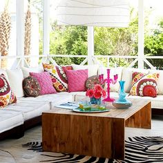 love how bright and cheery this is, boho style pillows would be fun on built in bench