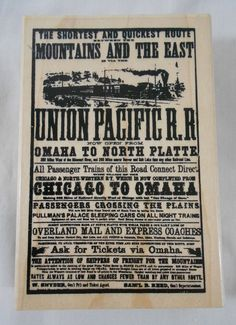 Railroad Union Pacific Poster Rubber Stamp Stampendous 4 x 2 1/2 Wood Mounted #Stampendous