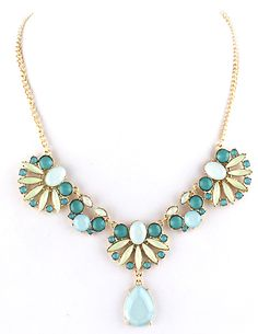 Blue Gemstone Gold Leaves Chain Necklace US$7.93