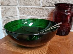 Forest Green Bowl by Anchor Hocking - Large Bowl - Salad Bowl - Vintage Mid Century Green Glass Dinnerware - Retro 1960's - 10 1/4 Inch by ClassyVintageGlass on Etsy