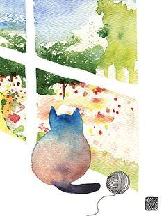 G38-window-cat-garden-yarn-miss-you-masha-dyans-watercolor-greeting-card