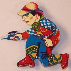 Vintage Mechanical Tin Clicker Cowboy