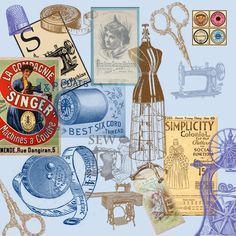 Vintage Victorian Sewing Collage 12x12 inch printable for scrapbooking and paper crafting