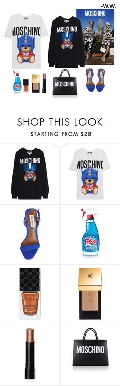 """Optimus"" by wednesday-williams ❤ liked on Polyvore featuring Moschino, Steve Madden, Gucci, Yves Saint Laurent, Bobbi Brown Cosmetics, StreetStyle, Summer, Blue and summer2017"