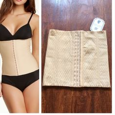 Waist trainer Elasticized honeycomb knit with front hook and eye closure. Hidden boning and medium compression. Size M Accessories