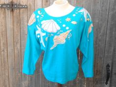 80s 90s Oversized Shirt Dolman Sea Shells Teal by ThingsRedeemed, $20.00