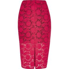 River Island Pink lace pencil skirt ($76) ❤ liked on Polyvore featuring skirts, pink, tube / pencil skirts, women, fitted pencil skirt, high-waisted skirts, high waisted pencil skirt, high-waist skirt and pink knee length skirt