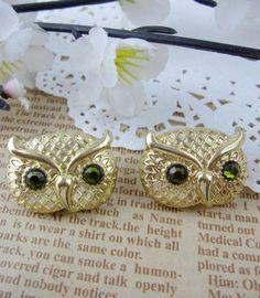 Vintage Gold Owl Rhinestone