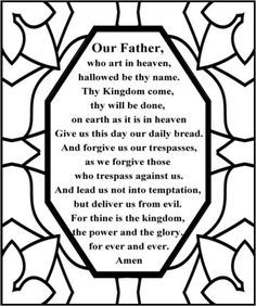 Free Lord's Prayer Coloring pages for children and parents.