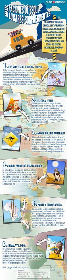 Infografía: Estaciones de esquí en lugares sorprendentes - Consulte nuestras infografías aquí: http://www.autoeurope.es/go/infografias/