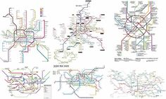 """Global subway systems converge on common topologies A paywalled paper in the Royal Society's journal Interface argues that the world's underground rail systems are all converging on an """"ideal"""" form. Urban Analysis, Site Analysis, Transport Map, Metro Map, Urban Design Plan, Subway Map, Royal Society, Teacher Tools, Planer"""