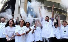 Employees of the Horseshoe Casino in Cleveland toss powder in the air shortly after NBA basketball star LeBron James announced his return to play for the Cleveland Cavaliers. (Joshua Gunter/The Plain Dealer) Lebron 1, Lebron James, Ohio Weather, News Us, Local News, Nba Basketball, Coming Home, Sports News, Cleveland
