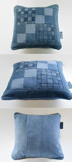 Cojín en tela vaquera - Denim Pillow Cover 14 x 14 Decorative Pillow от SuzqDunaginDesigns Jean Crafts, Denim Crafts, Artisanats Denim, Denim Purse, Denim Ideas, Sewing Pillows, Quilted Pillow, Soft Furnishings, Decorative Pillows