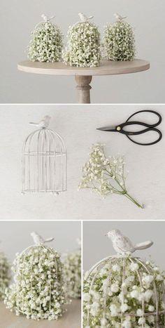 diy Wedding Crafts: Birdcage Baby's Breath Centerpiece