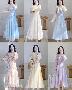 Korean Fashion Dress, Kpop Fashion Outfits, Girls Fashion Clothes, Girly Outfits, Classy Outfits, Stylish Outfits, Fashion Dresses, Beautiful Casual Dresses, Pretty Dresses