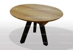 Runder Tisch aus Kernbuche auf 3 Beingestell aus Schwarzstahl Kitchen, Table, Furniture, Home Decor, Round Tables, Wood Slab, Types Of Wood, Moving Out, Cooking