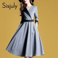 Sisjuly Women Dresses Fashion A Line Autumn High Street Waist Belt Slim  Party Office Lady Elegant Midi Long Sleeve Dress Girl aeb7d47b2