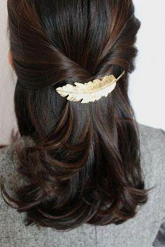 Feather Hair Pin, Feather Hair Clip, Leaf Hairpin, Leaf Hair Clip, Hai #bridaljewelryhairdown