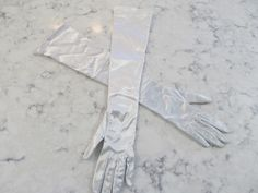 """Vintage 1950's  Platinum Silver Stretch 18"""" Gloves--Size 7--Made In Western Germany----Glove Auction #343 by PrimaMona on Etsy"""