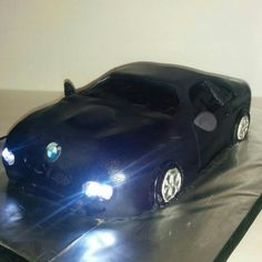 car cake- 2005 BMW with working LED lights Bmw Cake, 3d Cakes, Cake Designs, Dessert, Led, Lights, Island, Cars, Deserts