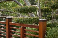 japanese hand rails | ... railing a tree with manicured branched hanging over a wooden railing