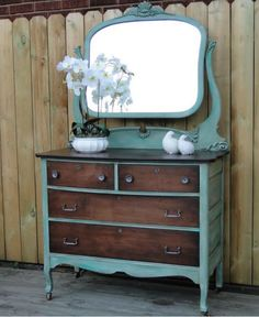 Two tone dresser and mirror with teal and dark stain