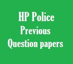 HP Police Constable Previous Question Paper