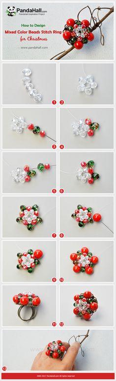 PandaHall Christmas Jewelry DIY-----Mixed Color Beads Stitch Ring #PandaHall #Christmas #Jewelry #DIY #Ring #jewelrymaking #tutorial #craft #glassbeads