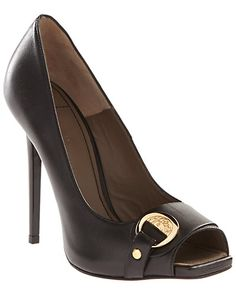 Versace Collection Leather Side Buckle Open-Toe Pump