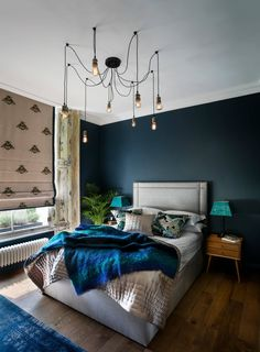 This one bedroom apartment in leafy West London was in a sorry state, but the magnificent Georgian sash windows and high ceilings won over designer Shanade McAllister-Fisher. White Bedroom Furniture, Blue Bedroom, Bedroom Colors, Bedroom Decor, Bedroom Ideas, Bedroom Inspiration, Contemporary Bedroom, Modern Bedroom, Eclectic Bedrooms