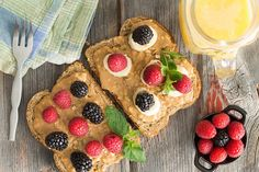 Sometimes it's just as simple as some nice crunchy toasted bread, spread with creamy peanut butter and dotted with fresh berries. Sliced bananas can be added or this toast can be drizzled with honey to serve. Have this toast for breakfast or a snack.