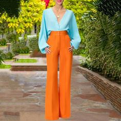 Elegant Long Sleeve Single-Breasted V Neck High-Waist Belted Suit – shewaves Backless Jumpsuit, Jumpsuit With Sleeves, Casual Jumpsuit, Mode Outfits, Fashion Outfits, Fashion Tips, Mode Costume, High Collar, Look Fashion