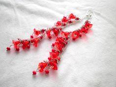 Red Flower Filigree Silver Earrings by juta230 on Etsy, $33.75