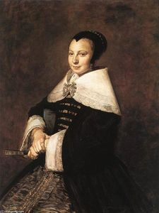 Frans Hals - portrait d-un assis woman la tenue une ventilateur