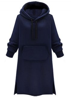 Women's Solid Color Side Slit Hooded Sweatshirt Dress AZBRO.com