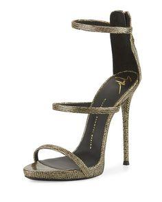 X34PJ Giuseppe Zanotti Embossed Leather Three-Strap Sandal, Black/Gold