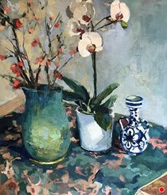 Still Life with Blue Vase by Ann Watcher, Oil, 24 x 20 Be Still, Still Life, Diamond Oil, Red Hydrangea, Lenten Rose, Rose Oil, Flower Oil, Zinnias, Peonies