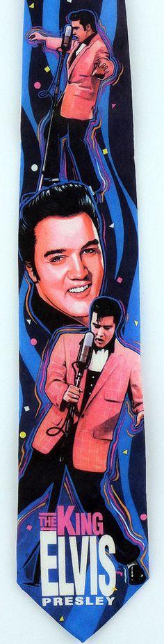New King Elvis Presley Mens Necktie Celebrity Singer Guitar Vegas Music Neck Tie #RalphMarlin #NeckTie