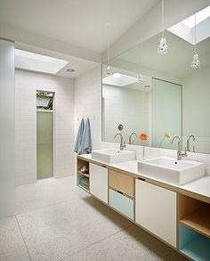 Beautiful mid-century modern home in Lakewood, WA | Floating vanity built by Kerf Design - http://kerfdesign.com