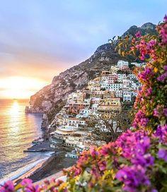 Colorful Positano, Italy at sunset. Photo by Wonderful Places, Beautiful Places, Beautiful Pictures, Dream Vacations, Vacation Spots, Almafi Coast Italy, Places To Travel, Places To Visit, Single Travel