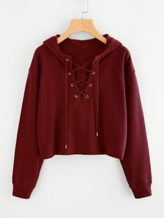 Search laceup top - - Drop Shoulder Eyelet Lace Up Sweatshirt Source by RockNaehmaschine Cute Comfy Outfits, Stylish Outfits, Cool Outfits, Girls Fashion Clothes, Teen Fashion Outfits, Trendy Hoodies, Vetement Fashion, Crop Top Hoodie, Crop Top Outfits