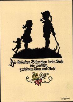 Scherenschnitt Ansichtskarte / Postkarte Plischke, Georg, Nr. 64, Die schönsten Blümchen, Mädchen mit Puppe