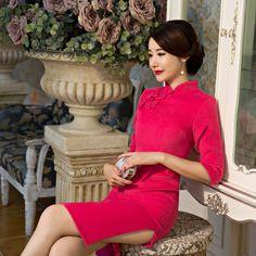 2016 Sale Robe De Soiree Courte 2017 New Autumn And Winter Dress Skirt Bride Wool Rose Fashion Cheongsam Wedding Wholesale