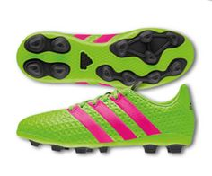 new concept 6451b ba666 adidas Ace 16.4 FXG Youth Soccer Cleats Shoes Black Green Pink Youth Size 4  NEW (