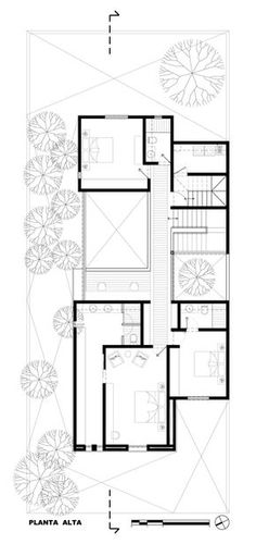 Image 29 of 32 from gallery of Aldebarán House / Haro Arquitectos. Narrow House Plans, Craftsman House Plans, Architecture Drawing Plan, Architecture Design, Villa Design, House Design, Roof Plan, Courtyard House, House Elevation